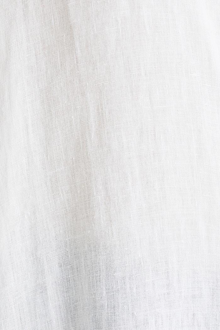 Ze lnu: košilová halenka dlouhého střihu, WHITE, detail image number 3