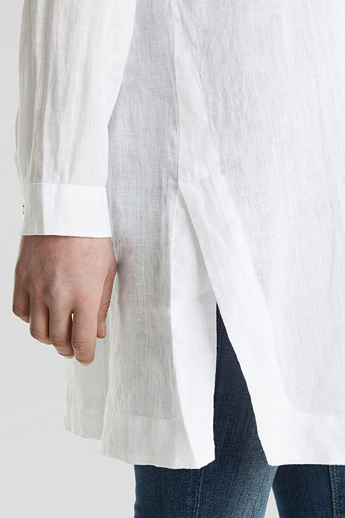 Ze lnu: košilová halenka dlouhého střihu, WHITE, detail image number 5