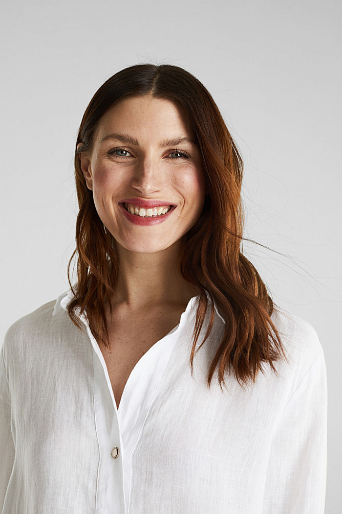 Ze lnu: košilová halenka dlouhého střihu, WHITE, detail image number 6