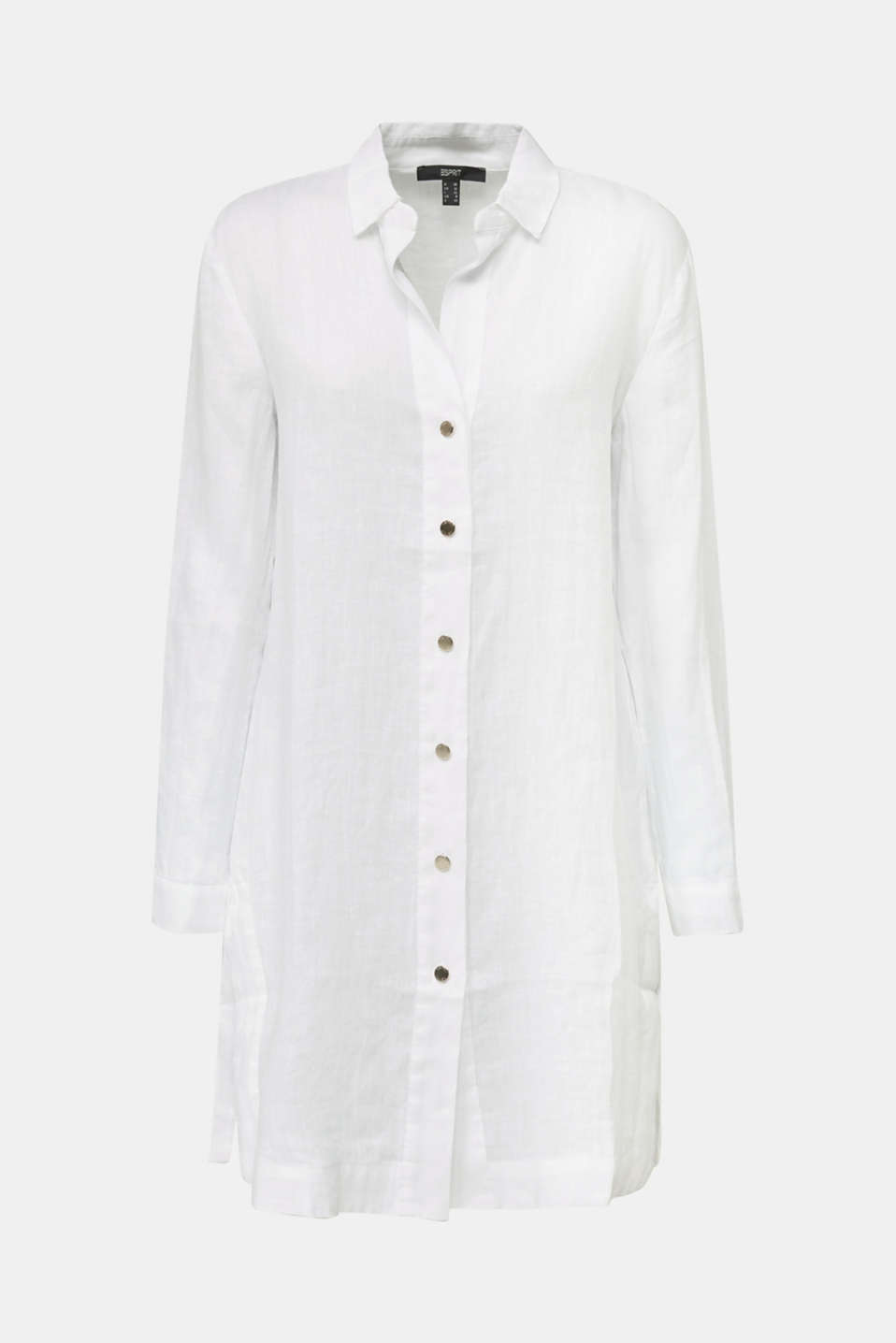 Made of linen: shirt blouse in a long cut, WHITE, detail image number 7