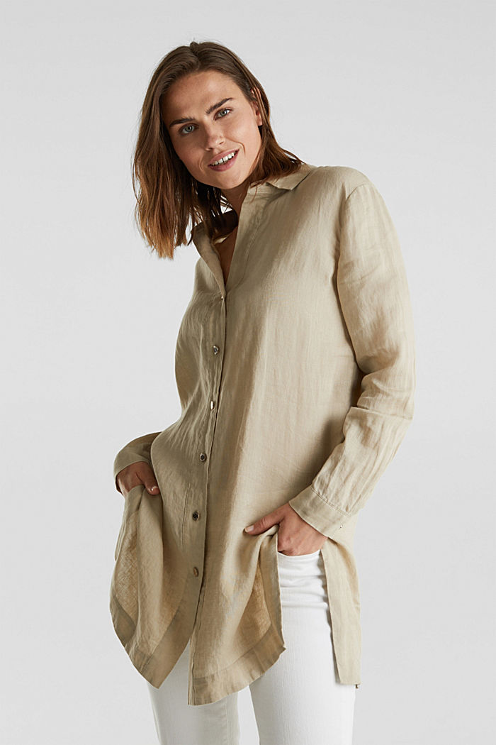 Made of linen: shirt blouse in a long cut, KHAKI BEIGE, detail image number 0