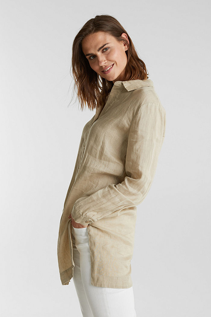 Made of linen: shirt blouse in a long cut, KHAKI BEIGE, detail image number 5