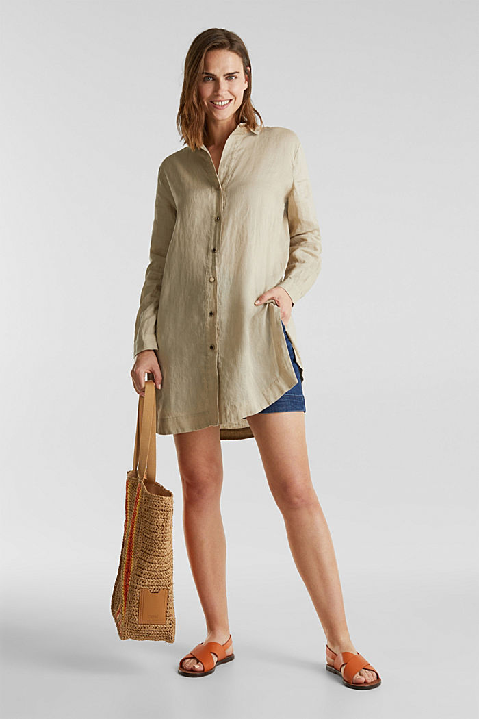 Made of linen: shirt blouse in a long cut, KHAKI BEIGE, detail image number 6