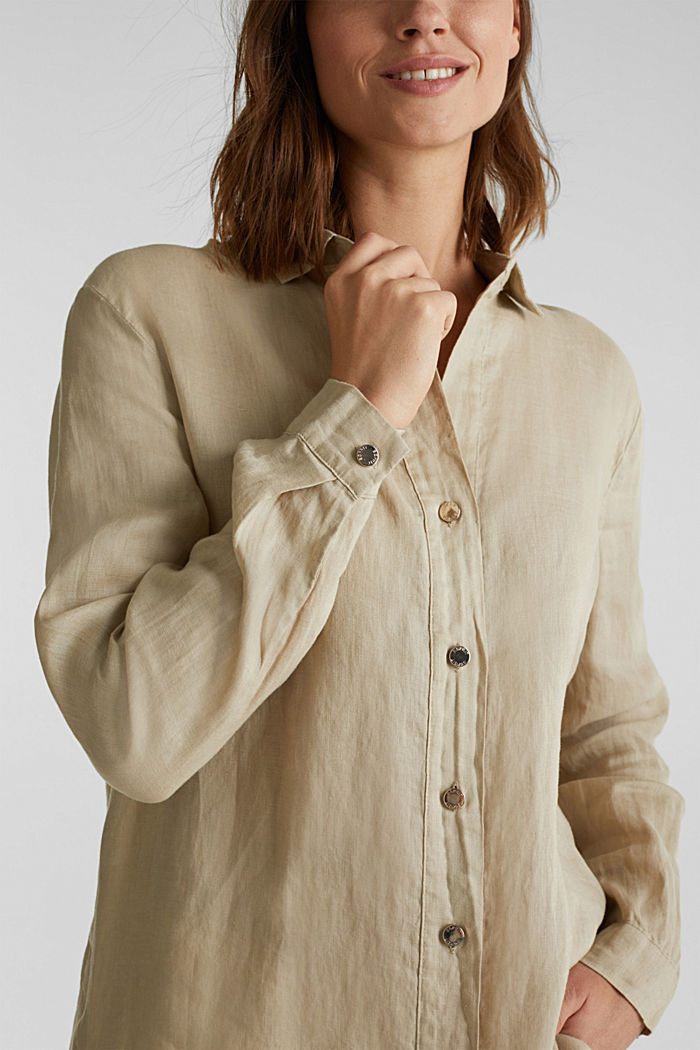 Made of linen: shirt blouse in a long cut, KHAKI BEIGE, detail image number 2