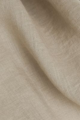 Made of linen: shirt blouse in a long cut, KHAKI BEIGE, detail