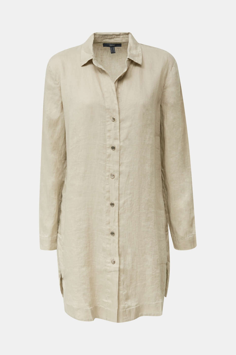 Made of linen: shirt blouse in a long cut, KHAKI BEIGE, detail image number 7
