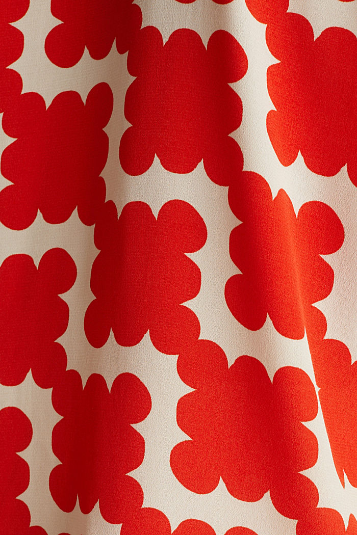 Shirt blouse made of crêpe with a graphic print, RED ORANGE, detail image number 4