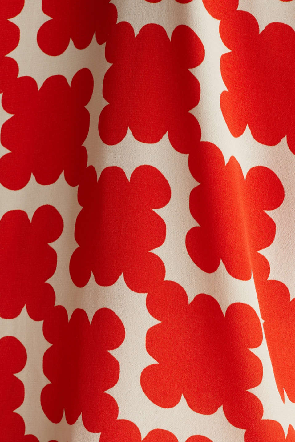 Shirt blouse made of crêpe with a graphic print, RED ORANGE 4, detail image number 4