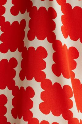 Shirt blouse made of crêpe with a graphic print, RED ORANGE, detail