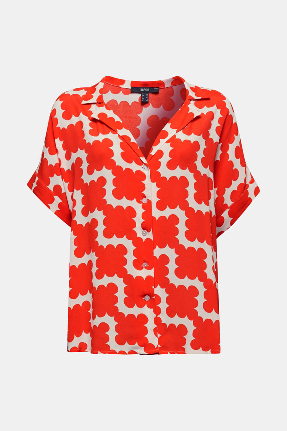 Shirt blouse made of crêpe with a graphic print, RED ORANGE 4, detail image number 6