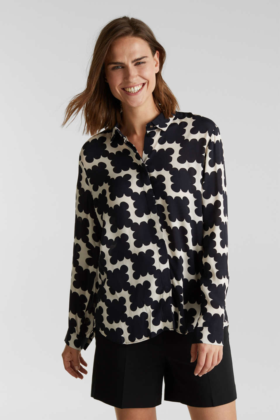 Crêpe blouse with a modern print, BLACK 3, detail image number 0