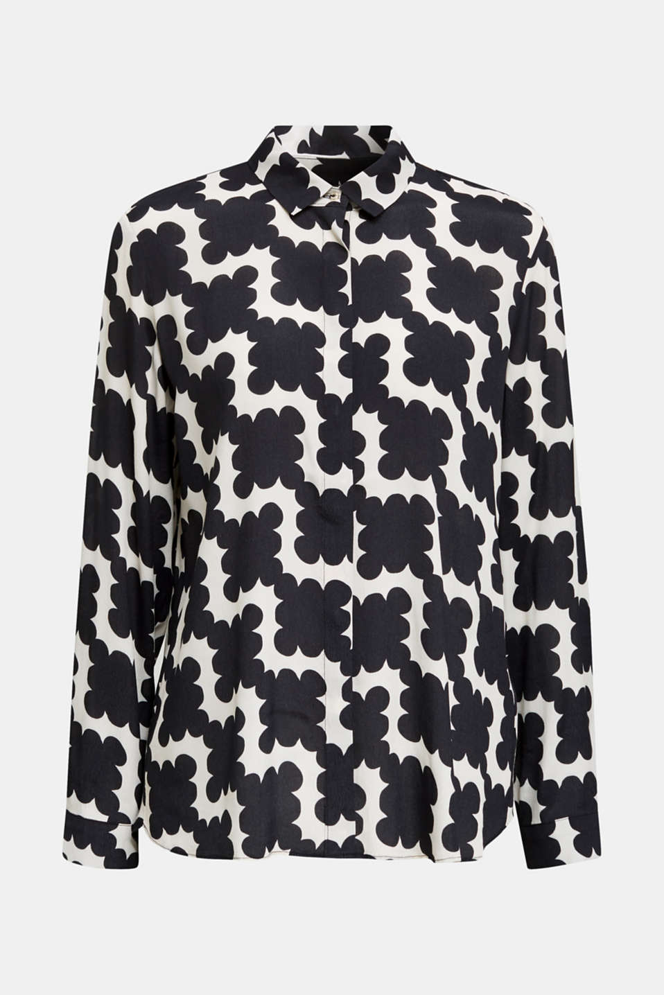 Crêpe blouse with a modern print, BLACK 3, detail image number 7