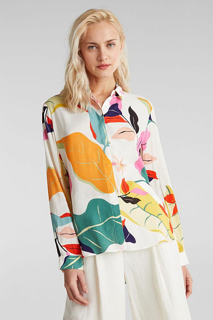Crêpe-Bluse mit modernem Print