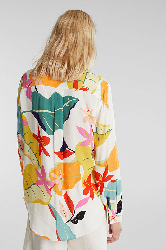 Crêpe blouse with a modern print, OFF WHITE, detail image number 3