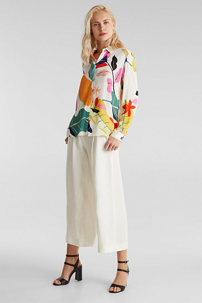 Crêpe blouse with a modern print, OFF WHITE, detail image number 1