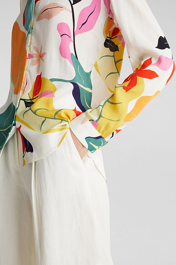 Crêpe blouse with a modern print, OFF WHITE, detail image number 2