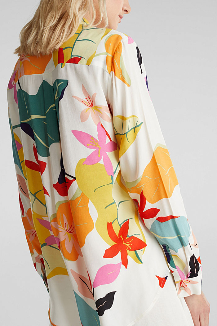Crêpe blouse with a modern print, OFF WHITE, detail image number 5