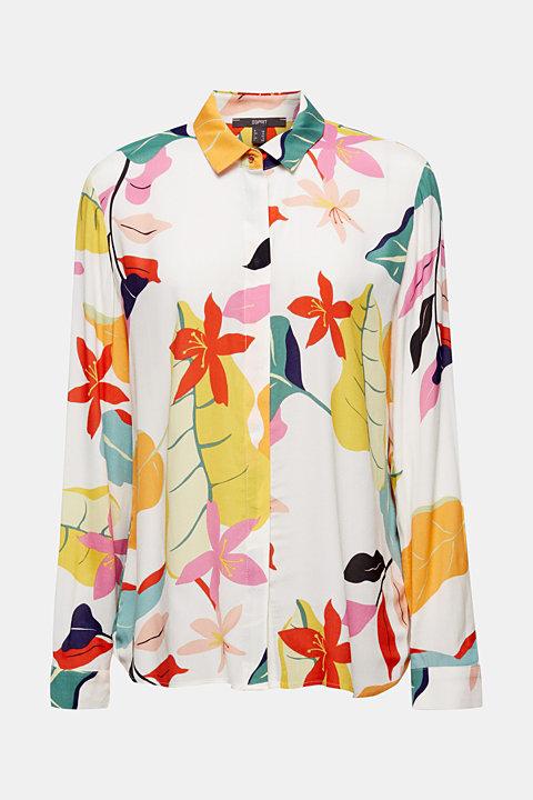 Crêpe blouse with a modern print