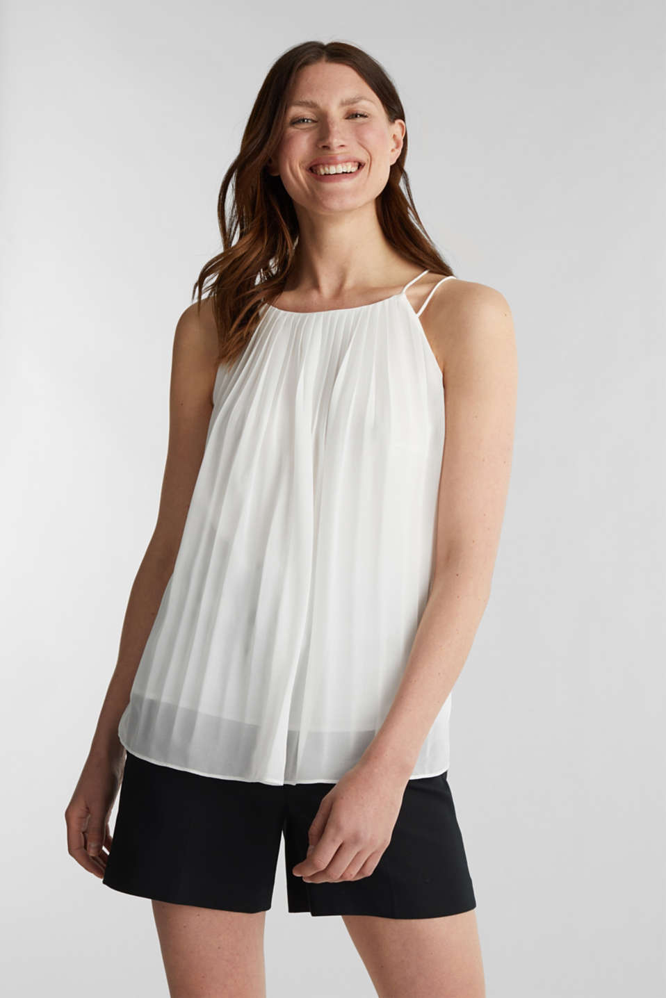 Recycled: Pleated blouse top, OFF WHITE, detail image number 0