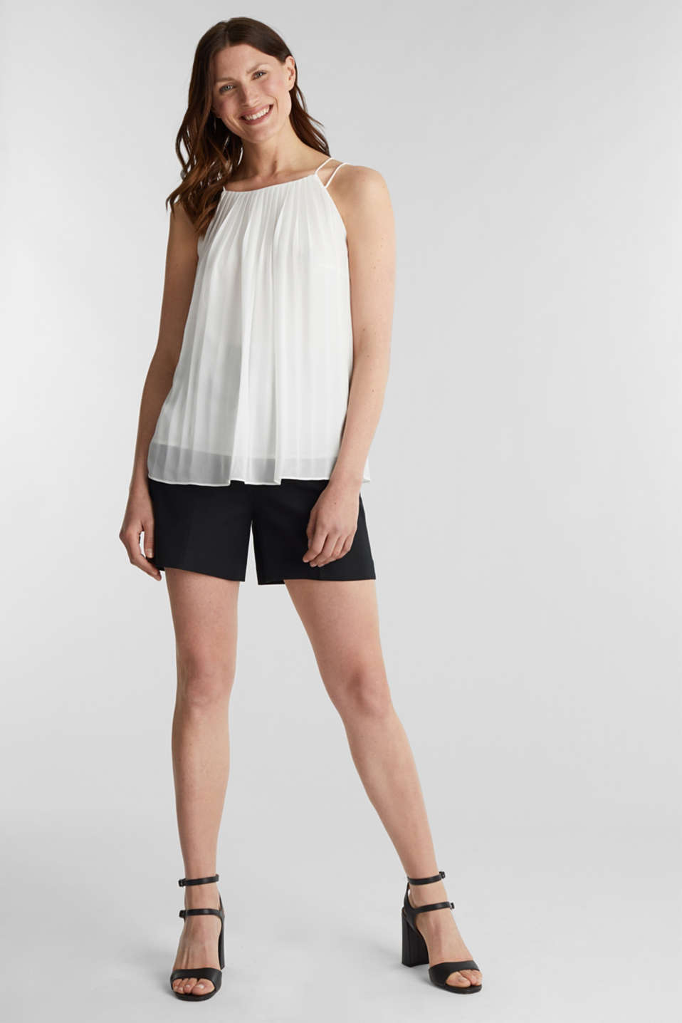 Recycled: Pleated blouse top, OFF WHITE, detail image number 1