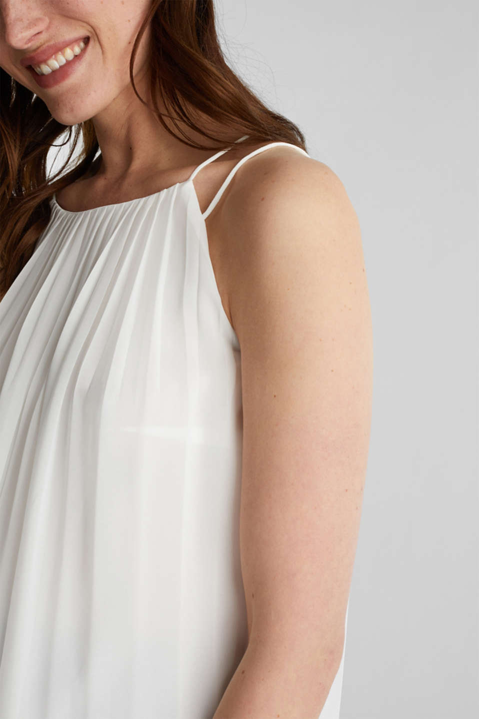 Recycled: Pleated blouse top, OFF WHITE, detail image number 2
