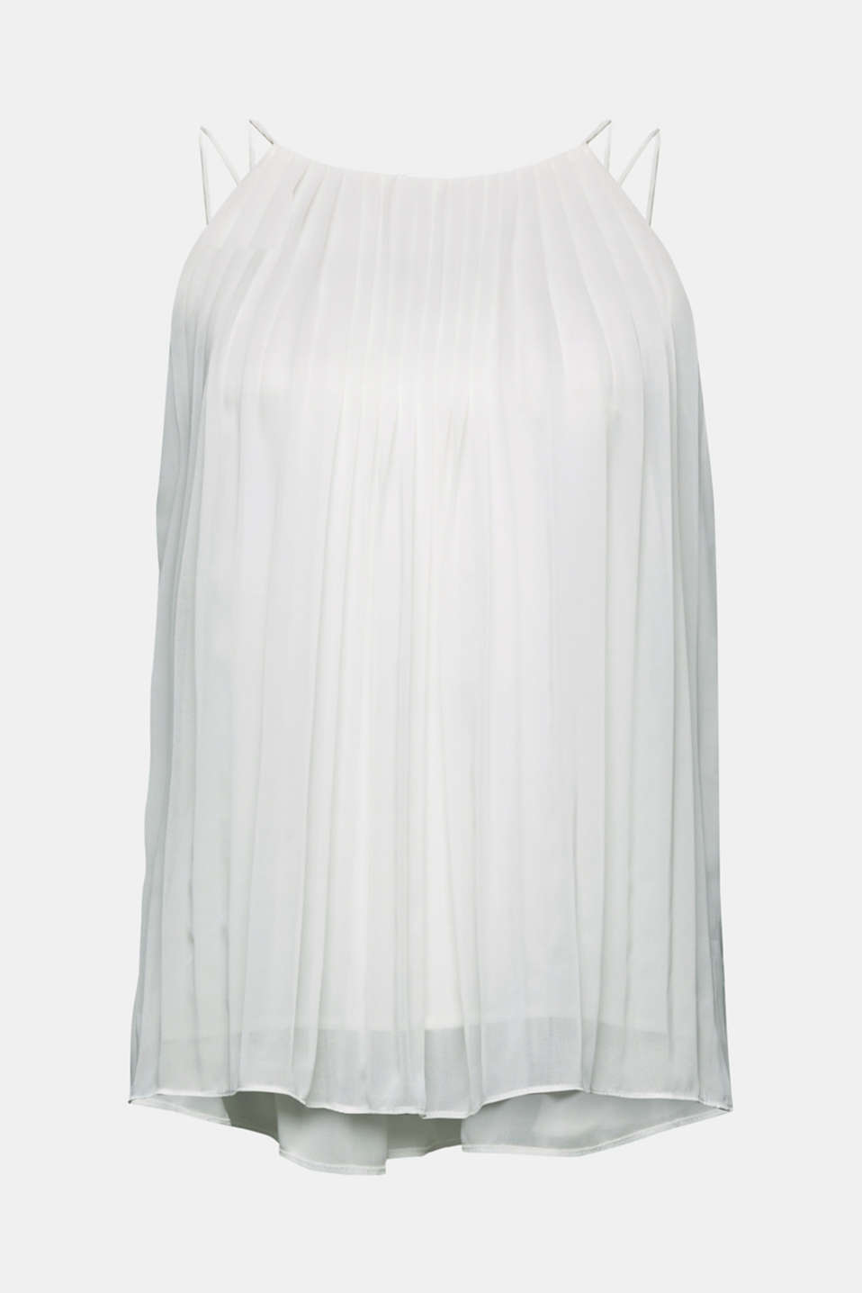 Recycled: Pleated blouse top, OFF WHITE, detail image number 5