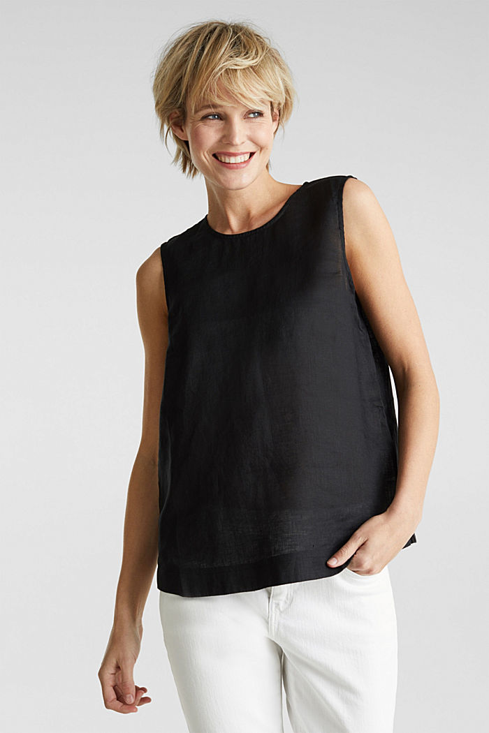Made of linen: boxy blouse top, BLACK, detail image number 0
