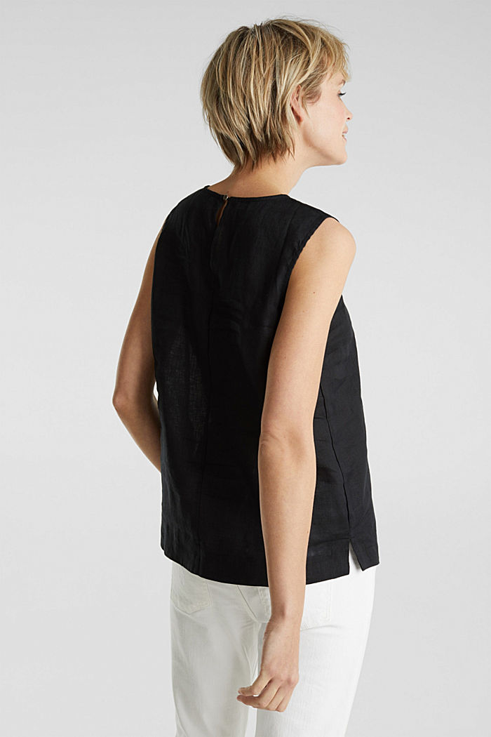 Made of linen: boxy blouse top, BLACK, detail image number 3