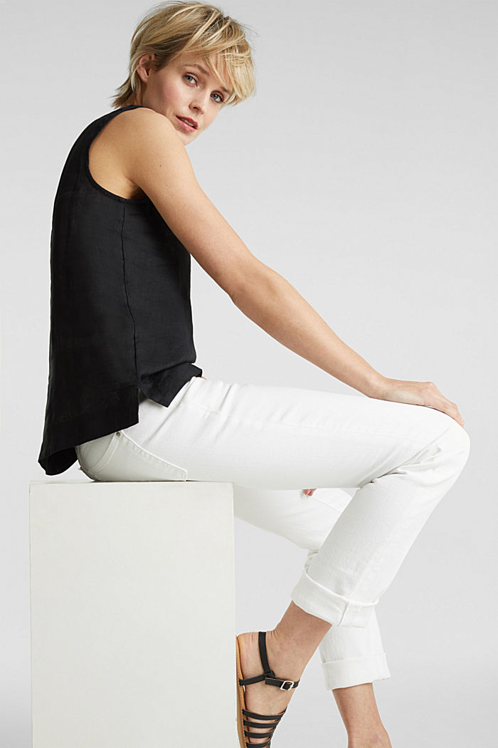 Made of linen: boxy blouse top, BLACK, detail image number 6