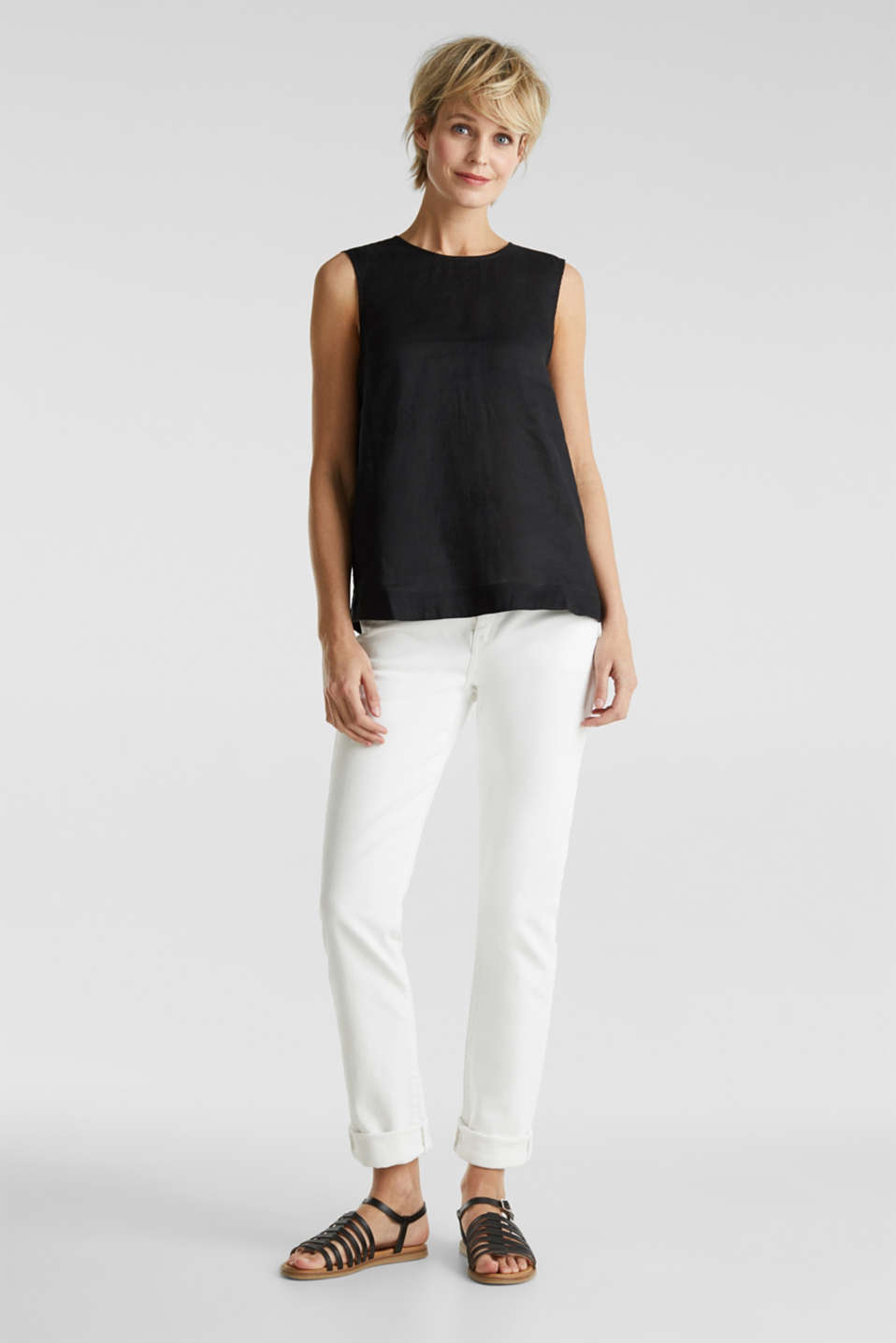 Made of linen: boxy blouse top, BLACK, detail image number 1