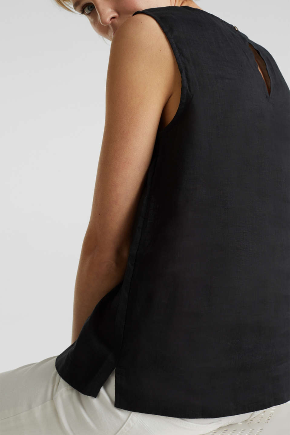 Made of linen: boxy blouse top, BLACK, detail image number 2