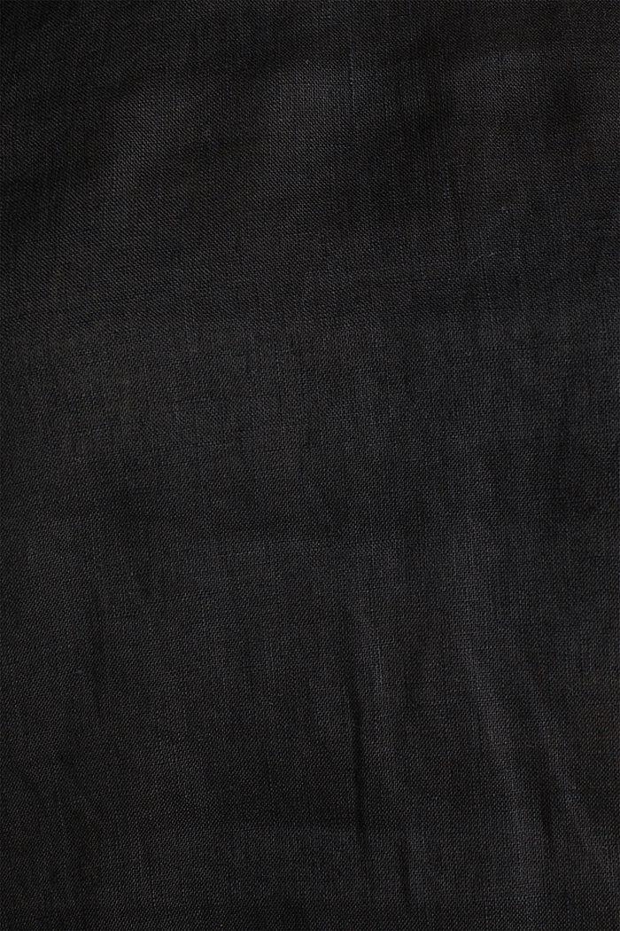 Made of linen: boxy blouse top, BLACK, detail image number 4
