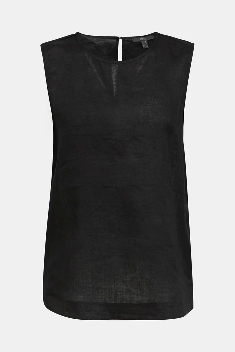 Made of linen: boxy blouse top, BLACK, detail image number 7