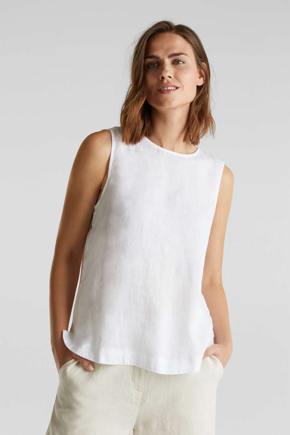 Made of linen: boxy blouse top, OFF WHITE, detail image number 0