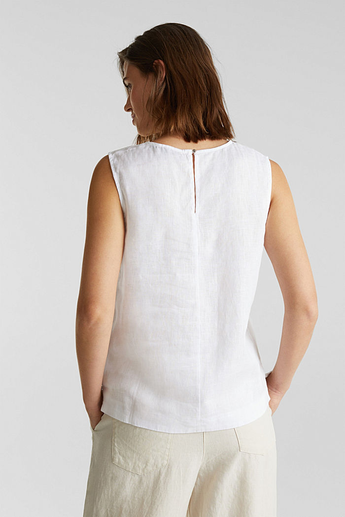 Made of linen: boxy blouse top, OFF WHITE, detail image number 3