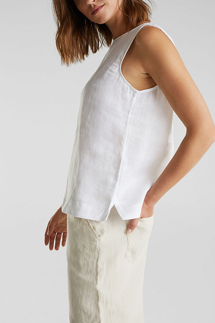 Made of linen: boxy blouse top, OFF WHITE, detail image number 2