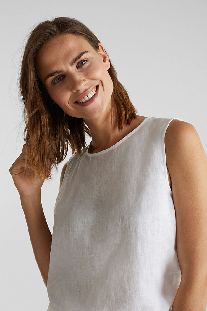 Made of linen: boxy blouse top, OFF WHITE, detail image number 5