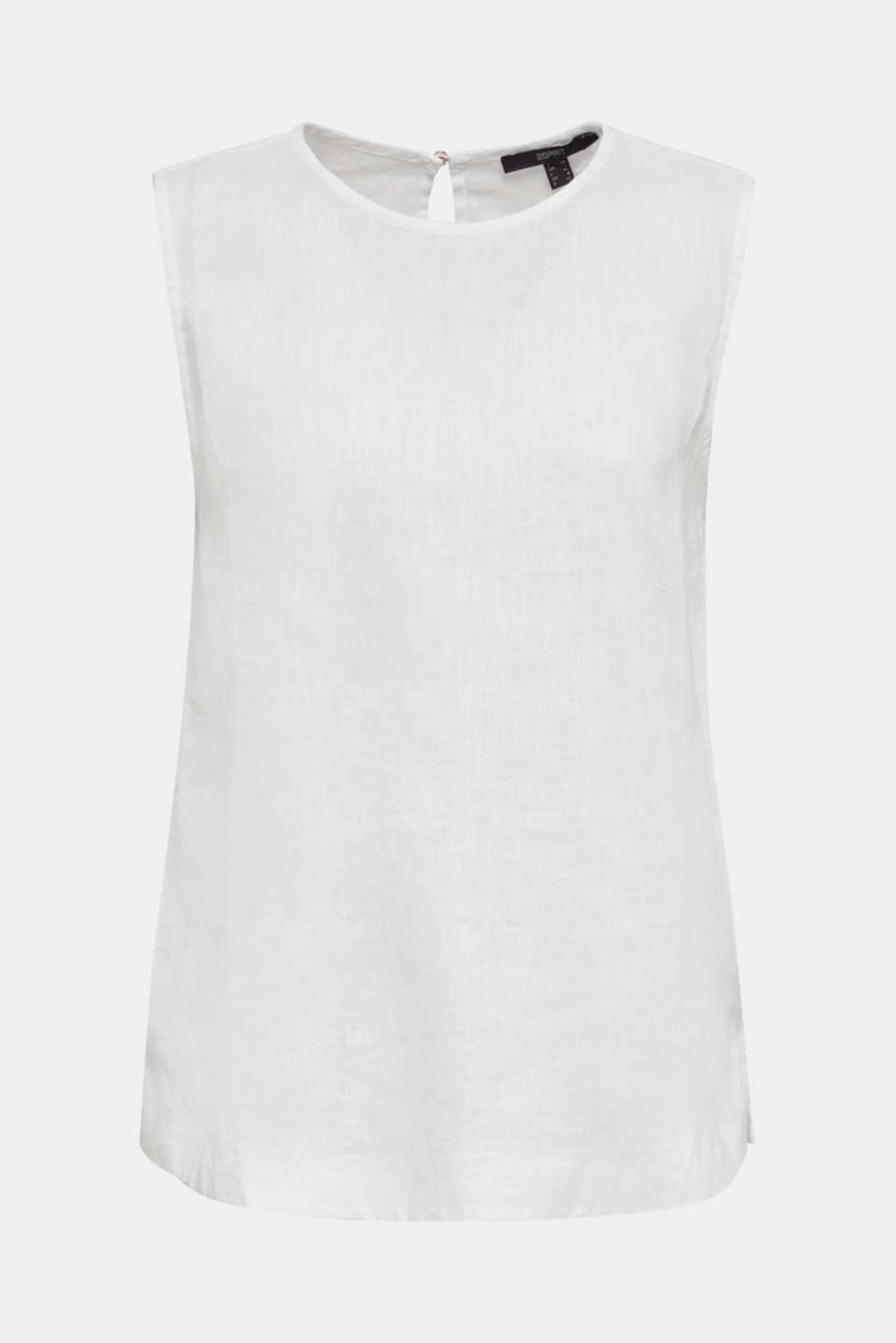 Made of linen: boxy blouse top, OFF WHITE, detail image number 7