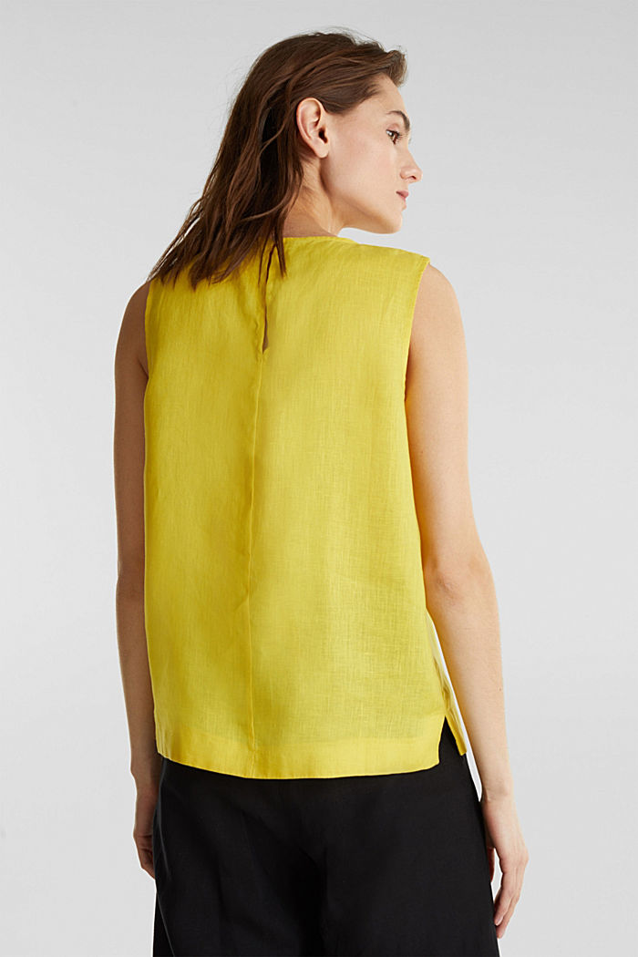 Made of linen: boxy blouse top, YELLOW, detail image number 3