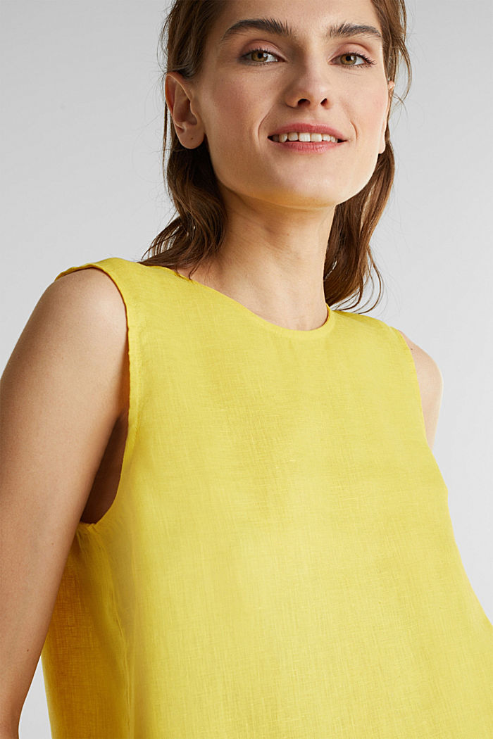Made of linen: boxy blouse top, YELLOW, detail image number 2
