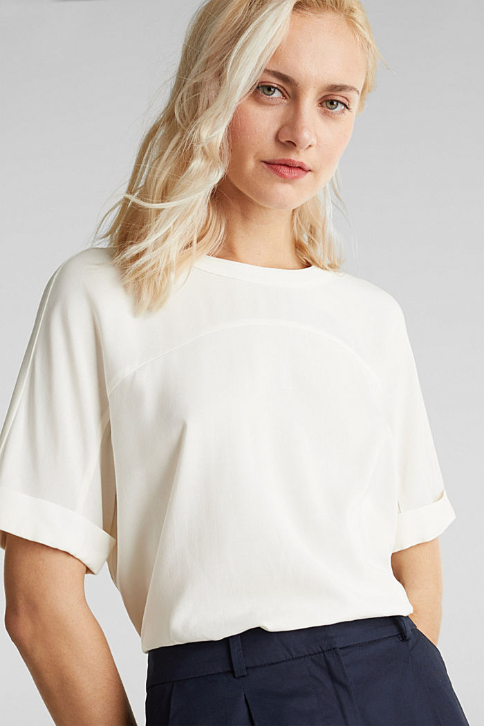 Short sleeve blouse with trendy details, OFF WHITE, detail image number 0