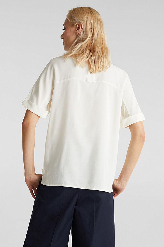 Short sleeve blouse with trendy details, OFF WHITE, detail image number 3