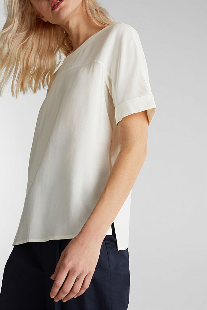 Short sleeve blouse with trendy details, OFF WHITE, detail image number 5