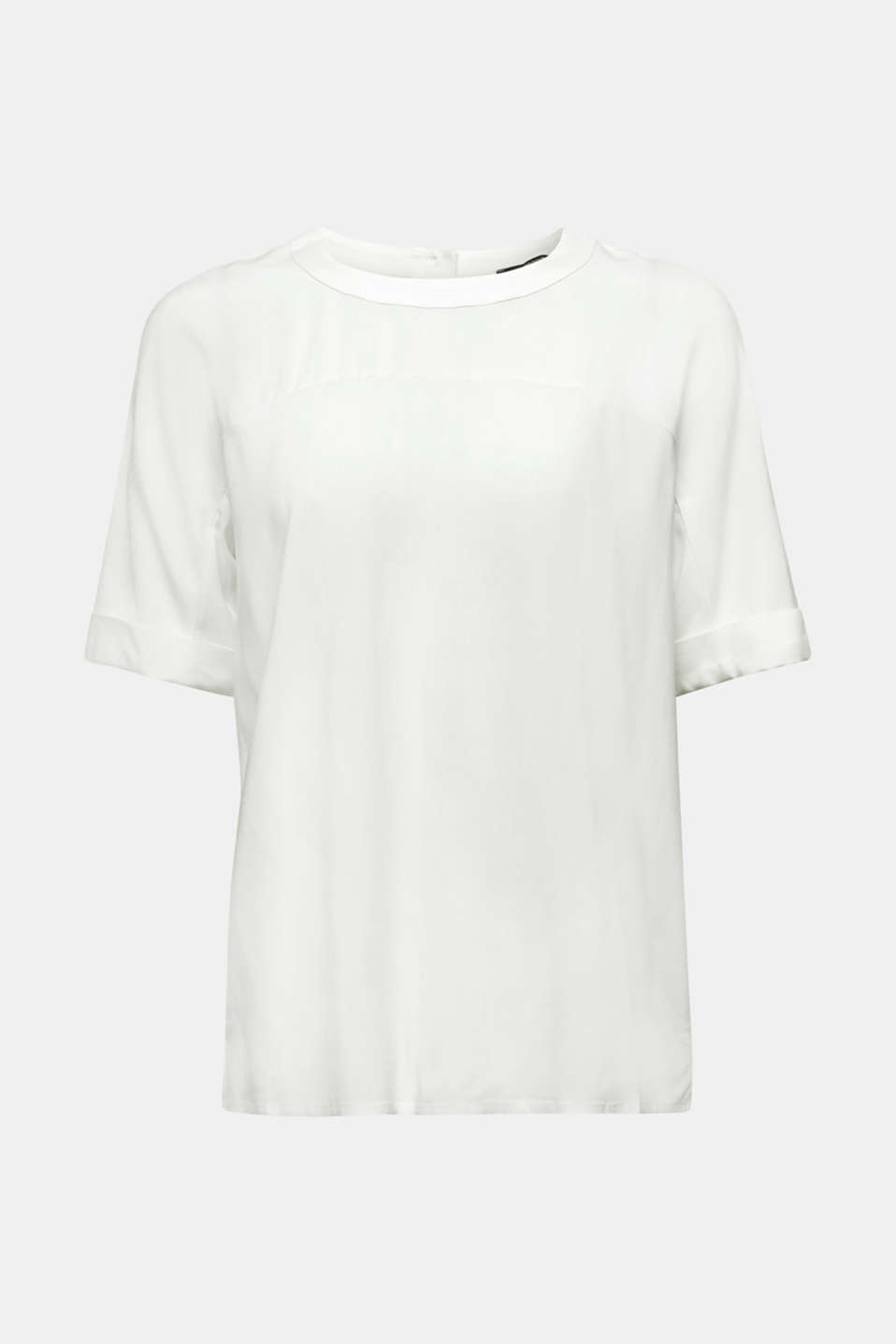 Short sleeve blouse with trendy details, OFF WHITE, detail image number 6