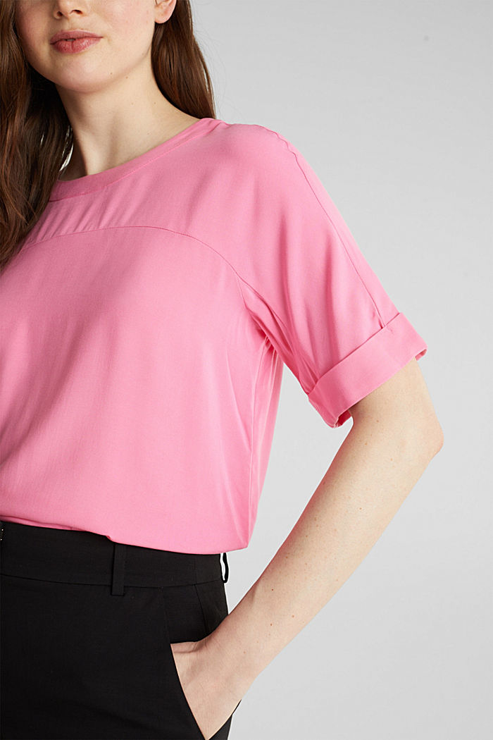 Short sleeve blouse with trendy details, PINK, detail image number 1