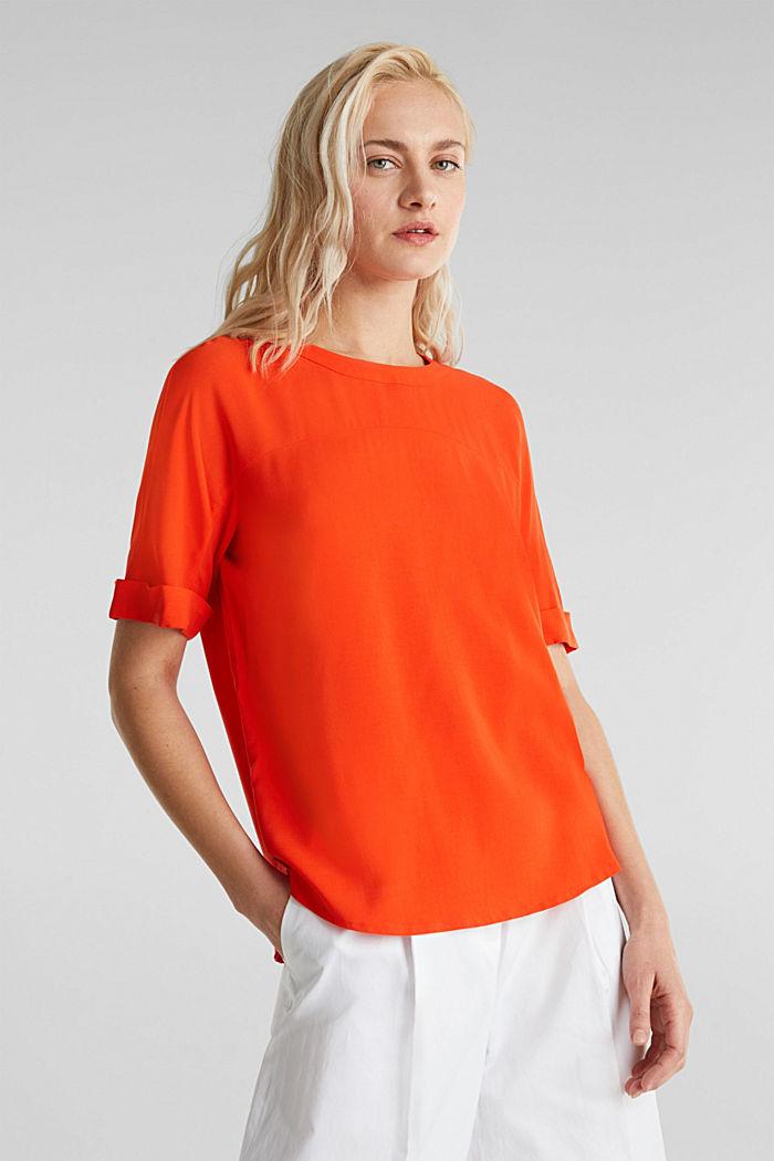 Short sleeve blouse with trendy details, RED ORANGE, detail image number 0