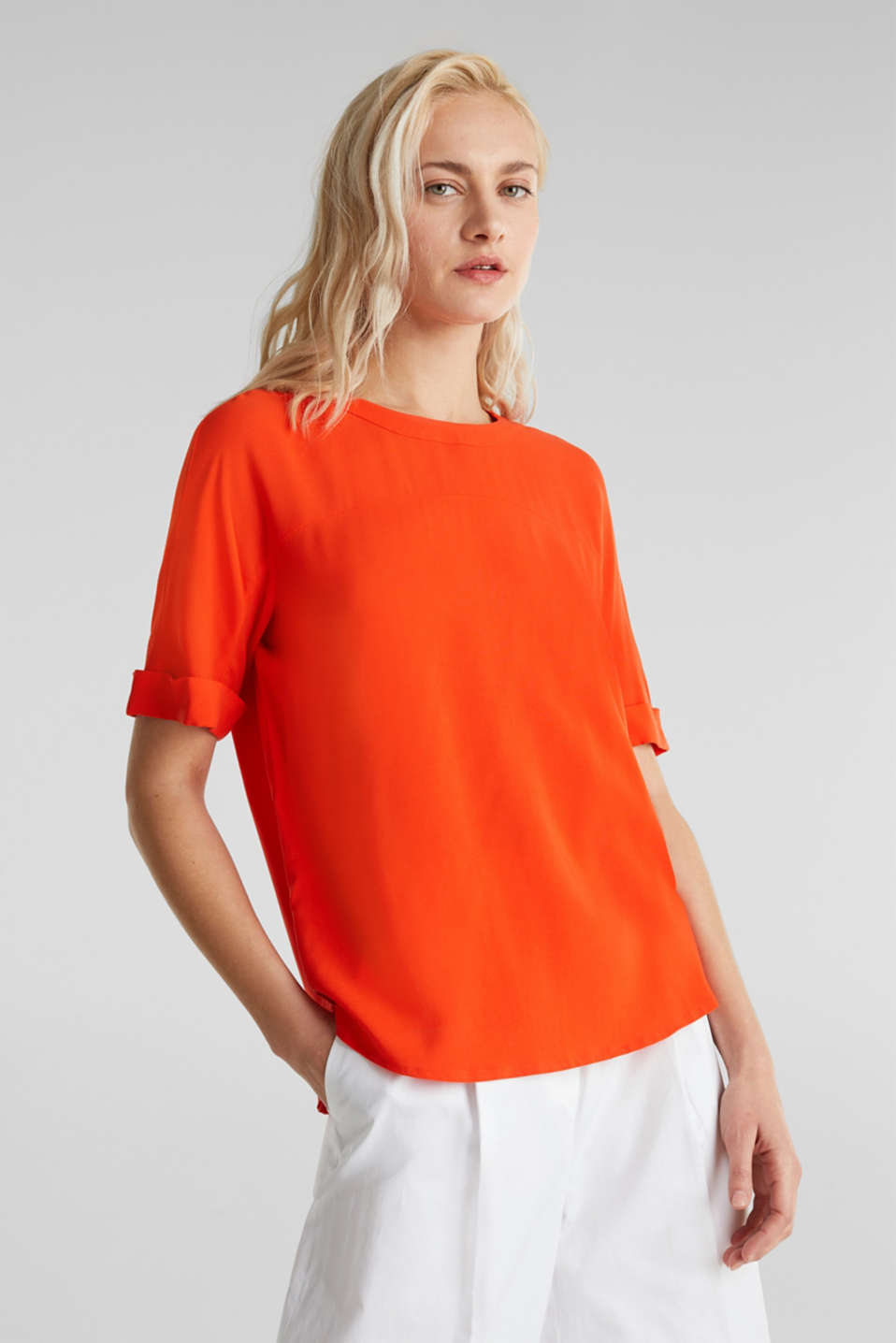 Short sleeve blouse with trendy details, RED ORANGE, detail image number 0