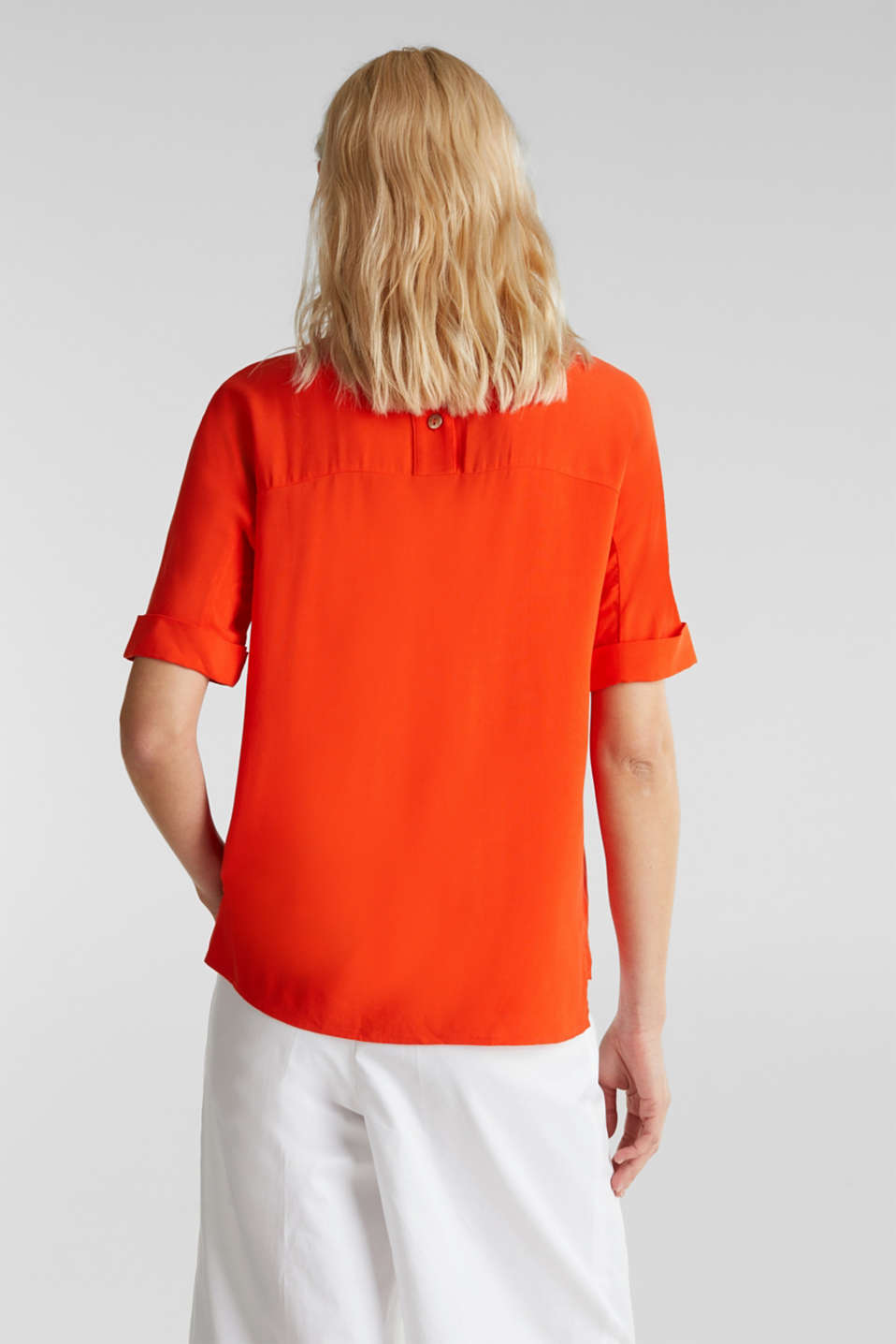 Short sleeve blouse with trendy details, RED ORANGE, detail image number 3