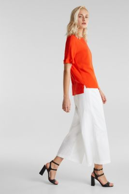 Short sleeve blouse with trendy details, RED ORANGE, detail