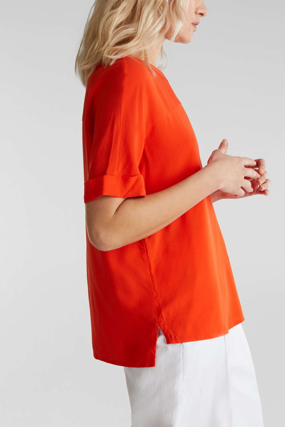 Short sleeve blouse with trendy details, RED ORANGE, detail image number 5